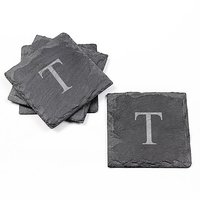 Cathys Concepts Personalized Slate Coasters, Set Of 4, Letter T