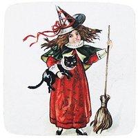 Golden Hill Studio Halloween Girl With Black Cat Coaster (Set Of 8), Multicolored