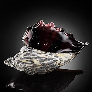 Art Glass Black And Clear Conch