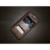 KLD Oscar Window S View Leather Flip Cover Case For Apple Iphone 4 4S - Brown