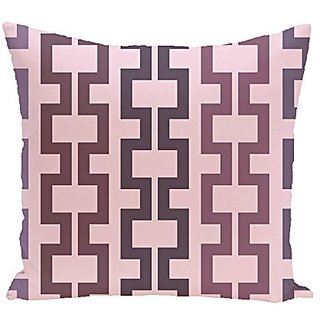 E By Design Cuff-Links Geometric Print Outdoor Pillow, 20-Inch, Mulberry