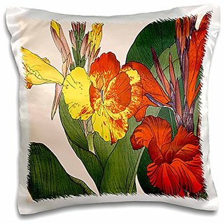 3dRose pc_172977_1 Exotic Canna Lilies in Vibrant Yellow, Orange and Red-Pillow Case, 16 by 16