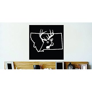 Design with Vinyl Decor Item Montana Wild Deer Buck Hunt Vinyl Wall Decal Sticker Decor Color : Black Size: 20 Inches X