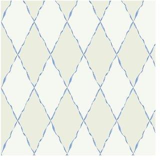 York Wallcoverings Girl Power 2 Ribbon and Harlequin 8 x 10 Wallpaper Memo Sample Off White/White/Light Blue