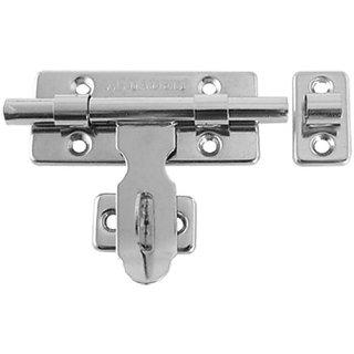 Amico Door Hardware Silver Tone Barrel Bolt Latch w Padlock Clasp