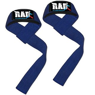 RAD Padded Weight Lifting Training Gym Straps Hand Wrap Wrist Support New (Blue),