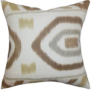 The Pillow Collection P20-PT-PROSPECT-RATTAN-C100 Rivka Geometric Pillow, Rattan, 20
