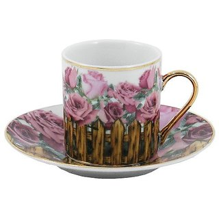 Rose Garden Porcelain Espresso Set 12 Pieces