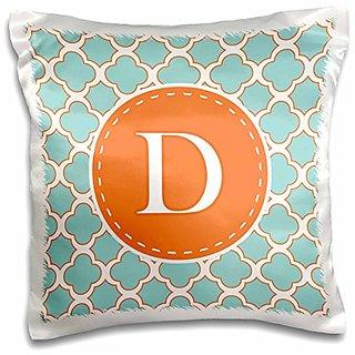 3dRose Letter D Monogram Orange and Blue Quatrefoil Pattern-Pillow Case, 16 by 16