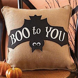 Mud Pie Boo to You Bat Pillow Wrap & Burlap Pillow Insert