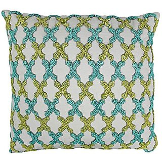 Blazing Needles Moroccan Patterned Beaded Cotton Throw Pillow, 20-Inch, Sea Green/Teal Beads/Ivory Fabric