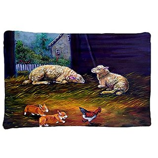 Carolines Treasures 7322PILLOWCASE Corgi Chaos In The Barn with Sheep Fabric Standard Pillowcase, Large, Multicolor