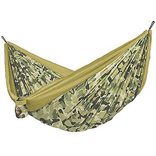 LA SIESTA COLIBRI Camouflage Travel Hammock with Integrated Suspension, Forest, Double Size,