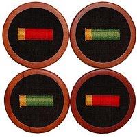 Smathers & Branson Shotgun Shells Needlepoint Coasters, Black (Coaster-31)