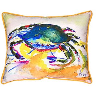 Betsy Drake Green Crab Indoor/Outdoor Pillow, 20
