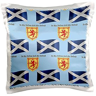 3dRose Scotland flag, coat of arms and motto pattern on light blue background - Pillow Case, 16 by 16-inch (pc_165747_1)