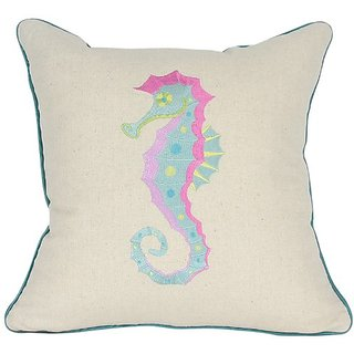 Manor Luxe Square Coastal Embroidery Collection Embroidered Seahorse Feather Filled Throw Pillow, 18-Inch