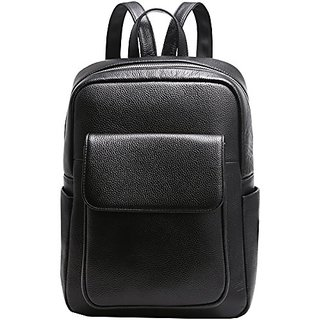 Heshe Womens Leather Backpack Vintage Casual Daypack for Ladies and Girls (Black)