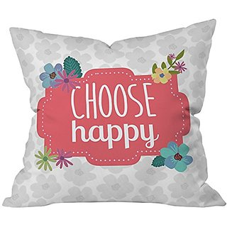 DENY Designs Lara Kulpa Choose Happy Throw Pillow, 18 x 18