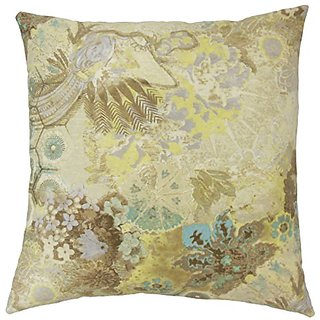 The Pillow Collection P18-WAV-270023-WINDFLOWERC-clstl-C100 Feleti Floral Pillow, Celestial