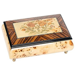 Floral Birds Eye Maple Pioppo Italian Inlaid Wood Jewelry Music Box Plays As Time Goes By