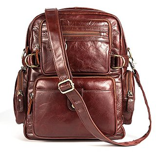 Tom Clovers Womens Mens Sports Bag Hiking Leather Backpack Cycling Backpack Daypack Brown,