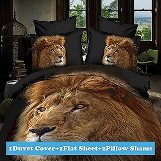 Lt Twin Full Queen Size 4-pieces 3d Big Golden Lion Head Black Prints Duvet Cover Sets/bedding Sets / Bed Linens (Twin,