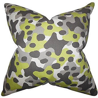 The Pillow Collection P20-PP-SIMBA-MANTIS-MACON-C100 Dabney Geometric Pillow, Gray, 20
