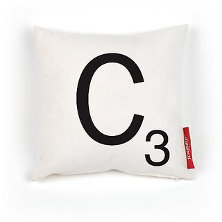Wild and Wolf Scrabble 100-Percent Polyester Pillow Cover, Letter C