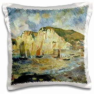 3dRose pc_126826_1 Sea And Cliffs x Pierre-Auguste Renoir Pillow Case, 16 x 16