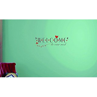 Design with Vinyl Moti 1728 1 Welcome to Our Nest Text Lettering Sign Quote Peel & Stick Wall Sticker Decal, 10