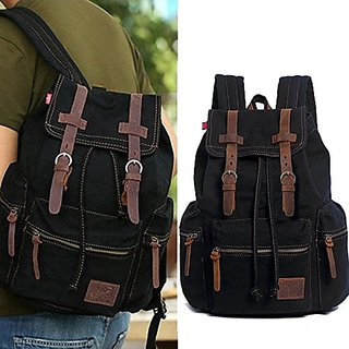 Homlove Vintage Men Casual Canvas Leather Backpack Rucksack Bookbag Satchel Hiking Bag (Black)