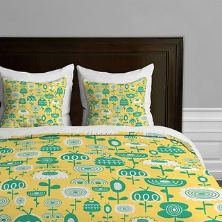 DENY Designs Gabriela Larios Flowers in a Sunny Garden Duvet Cover, Queen