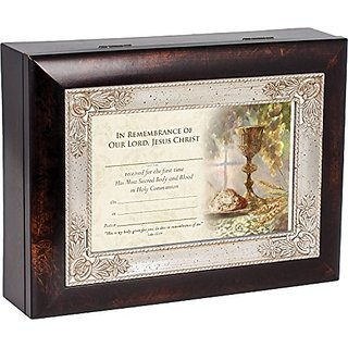 In Remembrance Dark Wood Finish Jewelry Music Box Plays Tune Ave Maria