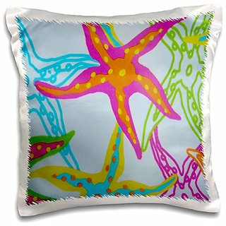 3dRose pc_182575_1 Print of Painted STARFISH Design In Orange Fuchsia Aqua-Pillow Case, 16 by 16
