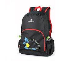 TOFINE Packable Nylon Backpack Hit Color Straps Black 25L
