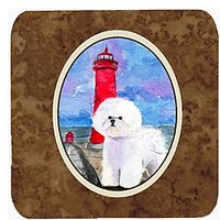 "Carolines Treasures SS8891FC Lighthouse With Bichon Frise Foam Coasters Set Of 4 (Set Of 4), 3.5"" H X 3.5"" W, Multicolor"