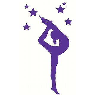 Wall Decor Plus More WDPM2496 Stretching Gymnast Silhouette With Stars Girls Bedroom Wall Sticker, 21x52-Inch, Purple