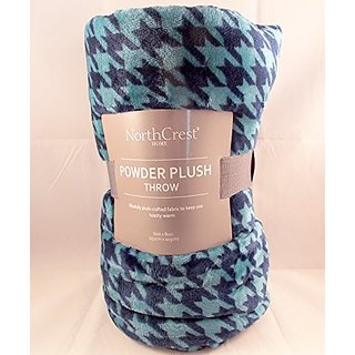 NorthCrest Powder Plush Throw Blanket Blue Houndstooth 60