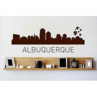 Design with Vinyl Cryst 411 831 Brown Albuquerque New Mexico Skyline City View Beautiful Scene Landmarks, Buildings and