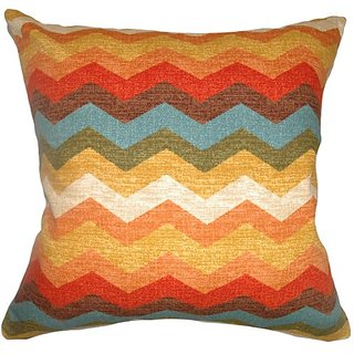 The Pillow Collection Gail Zigzag Pillow, Autumn