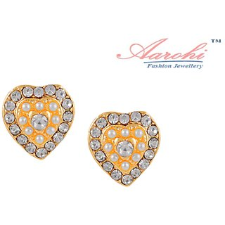 Aarohi Designer Gold Plated Australian Diamond Earrings