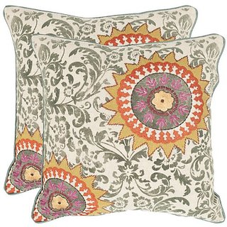 Safavieh Pillow Collection Throw Pillows, 18 by 18-Inch, Sunny Multicolored, Set of 2