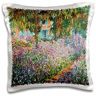 3dRose Print of Monet Painting irises in Garden-Pillow Case, 16 by 16