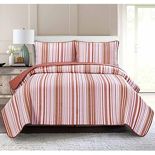Pur Luxe Stripe Quilt Set, King, Striped, Coral with Rose