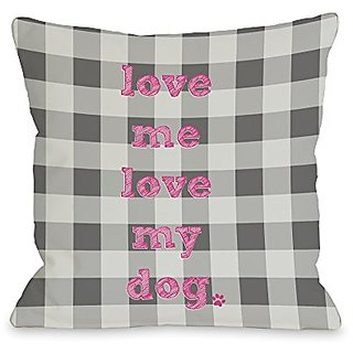 Bentin Home Decor Love Me Love My Dog Plaid Throw Pillow w/Zipper by OBC, 18