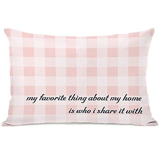 Bentin Home Decor Favorite Thing About My Home Gingham Throw Pillow, 20