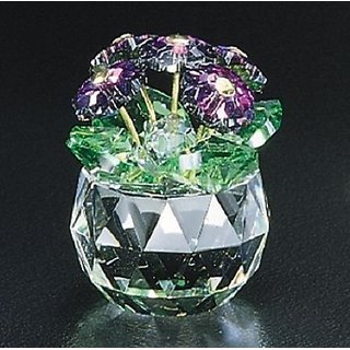 Crystal World African Violet Mini Pot Flower Figure