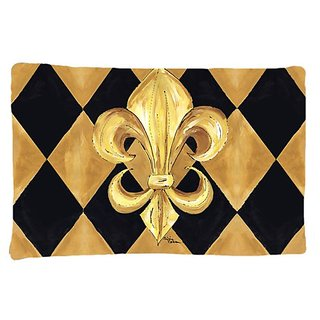 Carolines Treasures 8125PILLOWCASE Black And Gold Fleur De Lis New Orleans Moisture Wicking Fabric Standard Pillowcase,