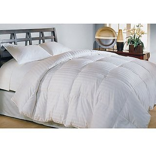 Blue Ridge Home Fashion 500 Thread Count Cotton Damask Siberian Down Comforter, King, White